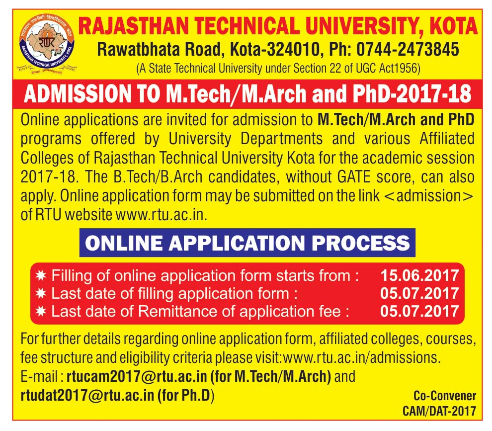 Admission to M.Tech and Ph.d 2017-18